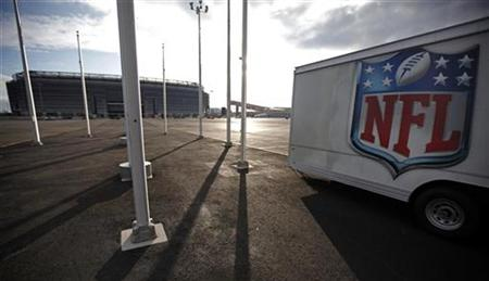 The NFL logo is seen on a trailer parked near the New Meadowlands Stadium where the Jets and Giants NFL football teams play home games in Ea