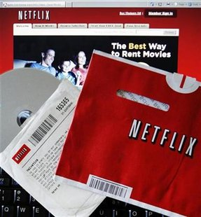 File photo of DVD rental and screen shot of Netflix website