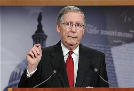 McConnell makes a point about his meeting with President Barack Obama about the country's debt ceiling, during a news conference at the Capi