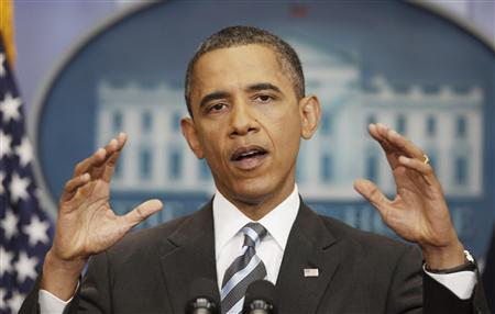 President Barack Obama gestures during a news conference to discuss negotiations with lawmakers to raise debt ceiling at the White House in