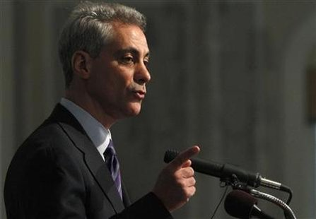 Emanuel answers a question during his first news conference as mayor elect in Chicago