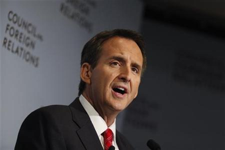 Former Minnesota Governor and candidate for the 2012 Republican Presidential Nomination Tim Pawlenty, addresses the Council on Foreign Relat