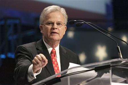 Former Louisiana Governor Roemer speaks during the Iowa Faith & Freedom Coalition's Spring Event at Point of Grace Church in Waukee, Iowa