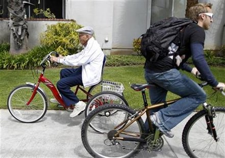 Octavio Orduño, 103, goes for his daily cycle ride in Long Beach