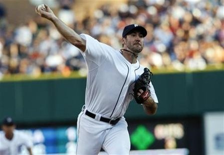 Detroit Tigers' Verlander throws to Chicago White Sox during their MLB American League baseball game in Detroit