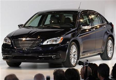 A Chrysler 200 sits on stage during the press day for the North American International Auto show in Detroit
