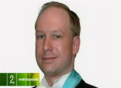 A photograph of Norwegian attack suspect Anders Behring Breivik is broadcast by Norwegian television