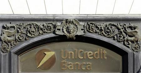 Unicredit logo is seen downtown in Rome