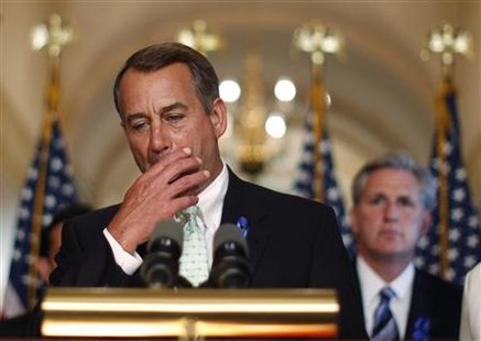 House Speaker John Boehner speaks to the press about U.S. debt reduction talks on Capitol Hill