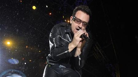 Bono, lead singer of Irish band U2 performs on the third day of the Glastonbury Festival in Worthy Farm, Somerset