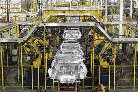 Chevrolet Cruze chassis move along the assembly line at the General Motors Cruze assembly plant in Lordstown, Ohio July 22, 2011.