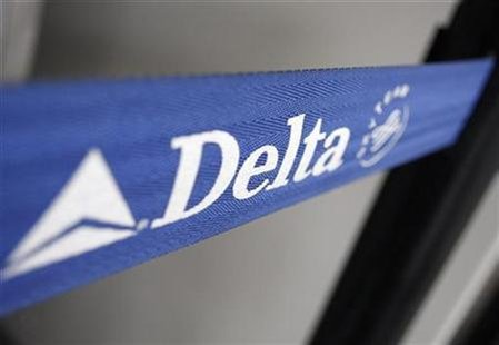 The Delta airline logo is seen on a strap at JFK Airport in New York