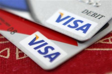 Visa credit cards are displayed in Washington