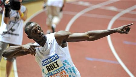 Bolt reacts after winning the men's 100 metres event at the Herculis Diamond League athletics meeting at Louis II stadium in Monaco