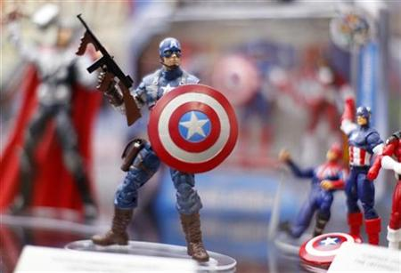 "Toy figurines of ""Captain America"" are shown on display at the pop culture event Comic Con in San Diego, California"
