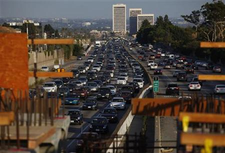 Traffic moves slowly on the 405 freeway in Los Angeles