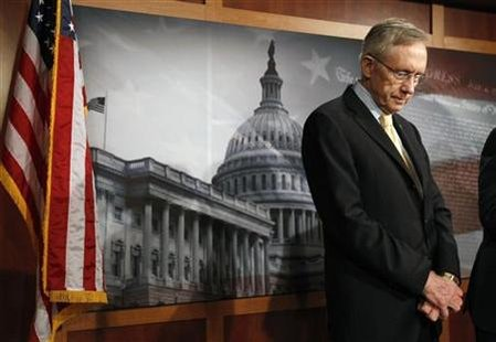 Reid speaks about the budget from the Capitol in Washington