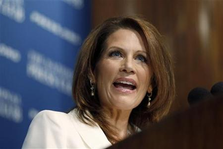 Republican Presidential candidate Bachmann speaks at a National Press Club luncheon in Washington
