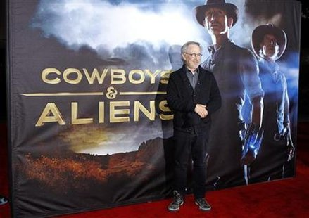 "Executive producer Steven Spielberg arrives for the world premiere ""Cowboys & Aliens"" in California"