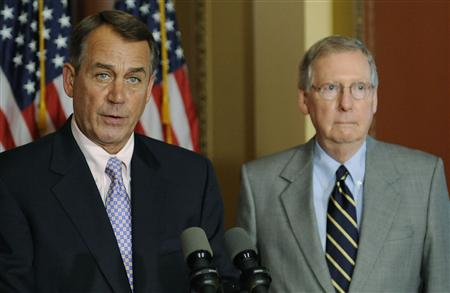 Boehner and McConnell hold a news conference about the U.S. debt ceiling crisis, at the U.S. Capitol in Washington