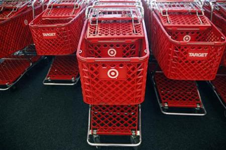 Shopping carts are stacked inside a Target store in Dallas