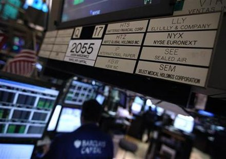 A listing identifer for NYSE Euronext with it's ticker symbol NYX is seen on the booth where it is traded on the floor of the New York Stock