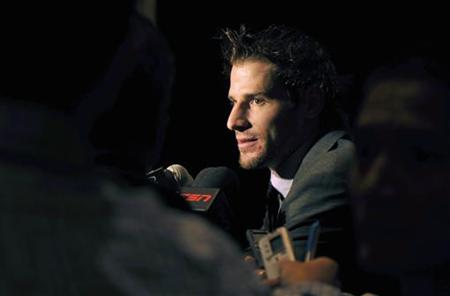 Vancouver Canucks' Ryan Kesler responds to reporters after winning the Frank J. Selke Trophy at the 2011 NHL Awards in Las Vegas.