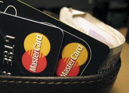 MasterCard credit cards are seen in this illustrative photograph taken in London
