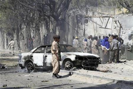 A view of the scene after a car bomb detonated along a street in Somalia's capital Mogadishu