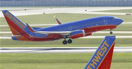 A Southwest Airlines plane takes off at Midway Airport in Chicago, Illinois.