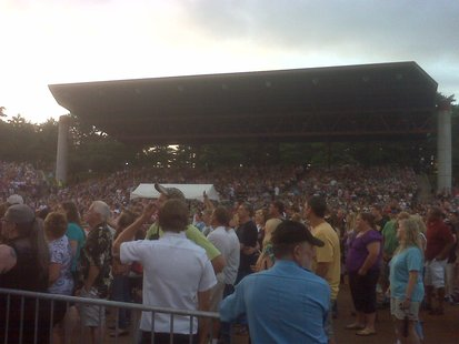 A large crowd at the grandstand at the Wisconsin Valley Fair