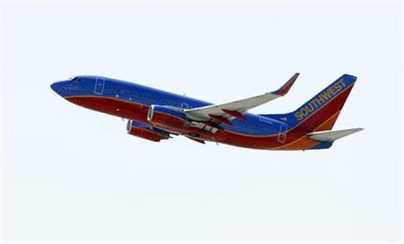 A Southwest Airlines 737-700 takes off from Bob Hope Airport in Burbank