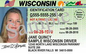 A sample Wisconsin Drivers License from the DOT