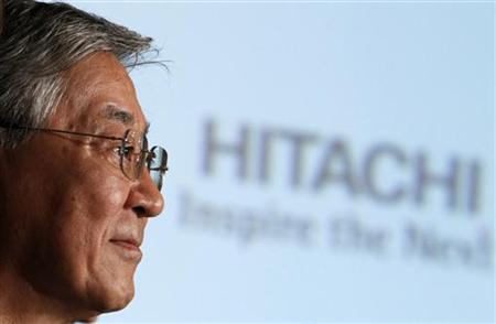 Hiroaki Nakanishi, president of Japanese electronics company Hitachi, attends a news conference in Tokyo