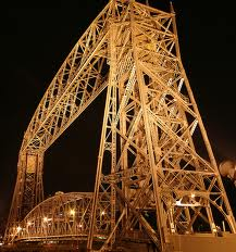 Duluth aerial bridge at night