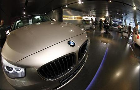 A BMW five series is on display at the headquarter of the German luxury carmaker in Munich