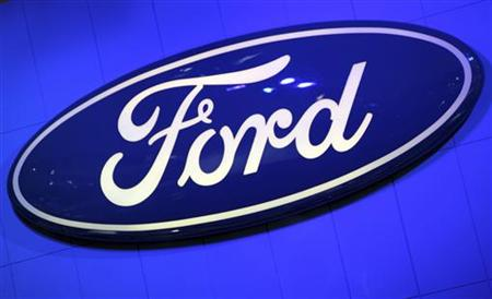 The Ford Motor Company Inc. logo is seen on a wall at the New York International Auto Show in New York City