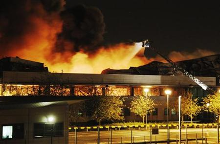Fire destroys a Sony warehouse in Enfield in north London