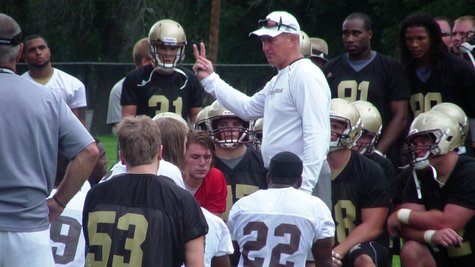 WMU Head Football Coach Addresses his players after the first day of practice.