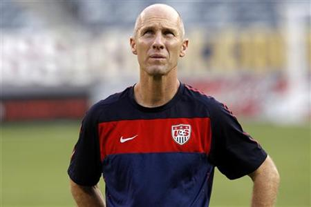 U.S. national soccer team head coach Bradley attends a training session with the team at New Meadowlands Stadium in East Rutherford
