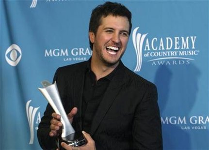 Luke Bryan poses at the 45th annual Academy of Country Music Awards in Las Vegas