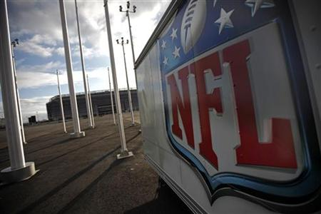 NFL logo on trailer near New Meadowlands Stadium after NFL owners announced lockout of players
