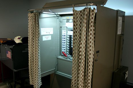 This is a picture of an American voting booth. It was taken on the University at Buffalo's north campus By Dsw4 (Own work) [Public domain], via Wikimedia Commons