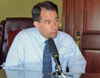 Governor Scott Walker in a radio interview in his office after recall elections on August 10, 2011  (photo: Wisconsin Radio Network)