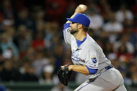 Kansas City Royals Kyle Davies pitches against Boston Red Sox in the first inning of their MLB American League baseball game at Fenway Park