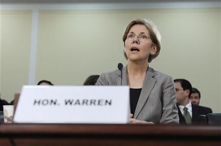 Warren registers her surprise at a hearing about oversight of the Consumer Financial Protection Bureau on Capitol Hill in Washington