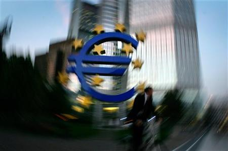 The euro sculpture is seen in front of the European Central Bank headquarters in Frankfurt