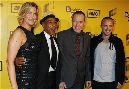 Stars of AMC's drama television series 'Breaking Bad' arrive for the premiere screening for the show's fourth season in Hollywood