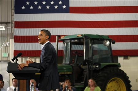 U.S. President Obama delivers remarks at a Rural Economic Forum in Peosta