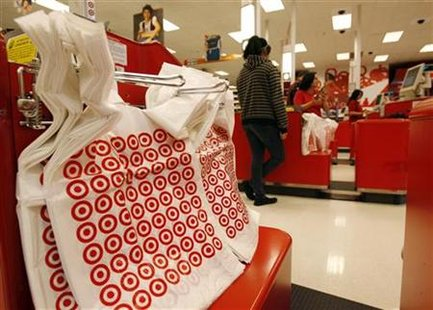 A shopper stands at a checkout counter at a Target store in Los Angeles